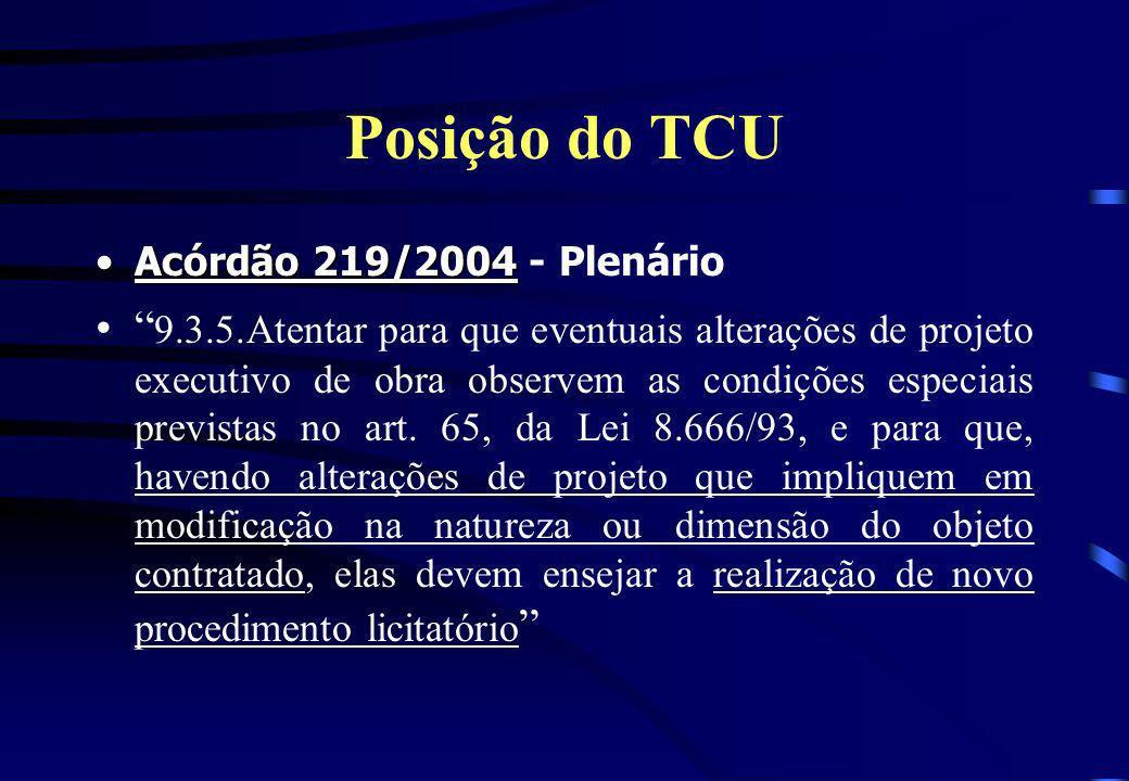 Posição do TCU Acórdão 219/2004 - Plenário.