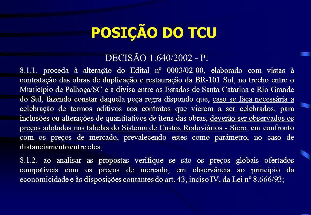 POSIÇÃO DO TCU DECISÃO 1.640/2002 - P:
