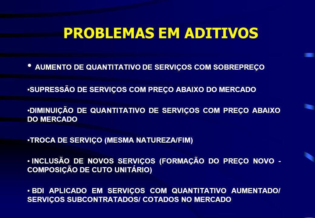 PROBLEMAS EM ADITIVOS AUMENTO DE QUANTITATIVO DE SERVIÇOS COM SOBREPREÇO. SUPRESSÃO DE SERVIÇOS COM PREÇO ABAIXO DO MERCADO.