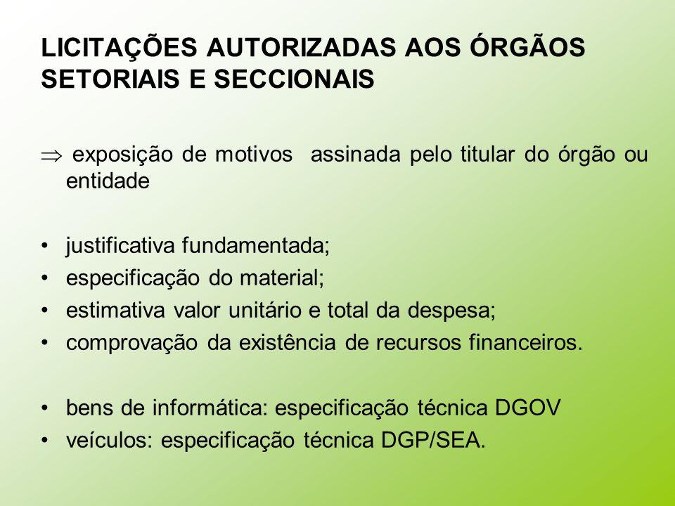 LICITAÇÕES AUTORIZADAS AOS ÓRGÃOS SETORIAIS E SECCIONAIS