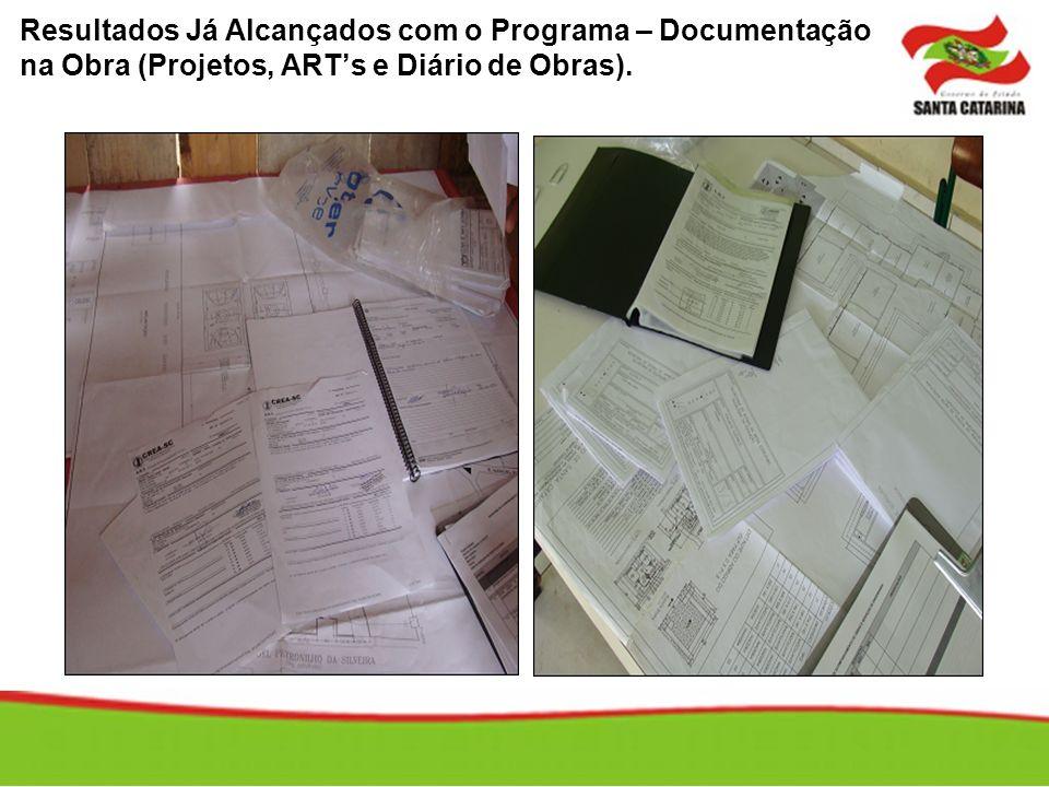 Resultados Já Alcançados com o Programa – Documentação na Obra (Projetos, ART's e Diário de Obras).