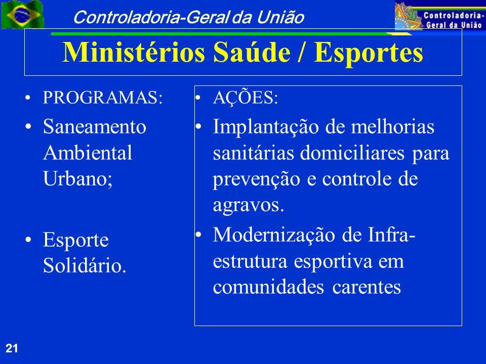 Ministérios Saúde / Esportes