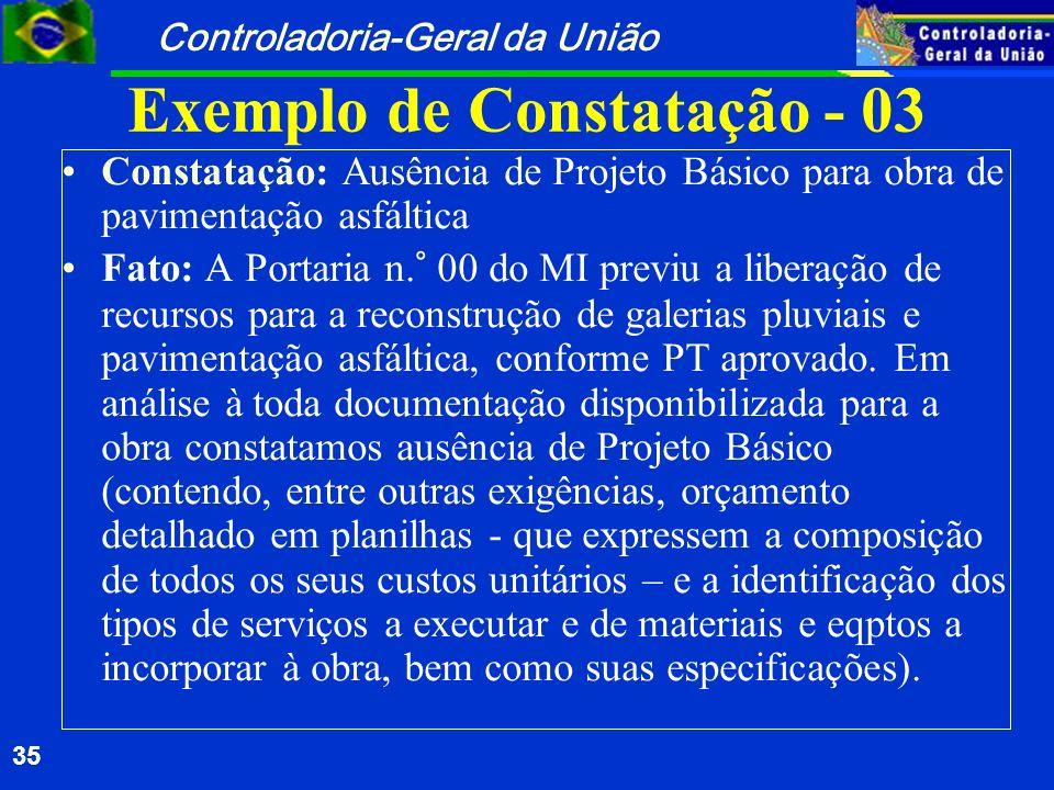 Exemplo de Constatação - 03