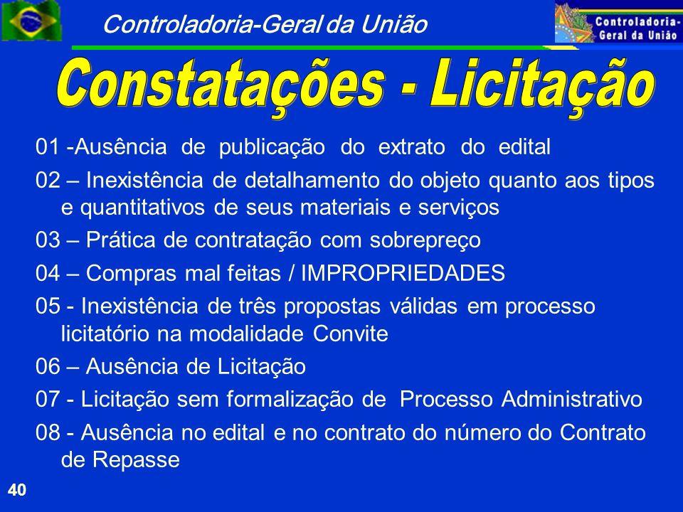 Constatações - Licitação