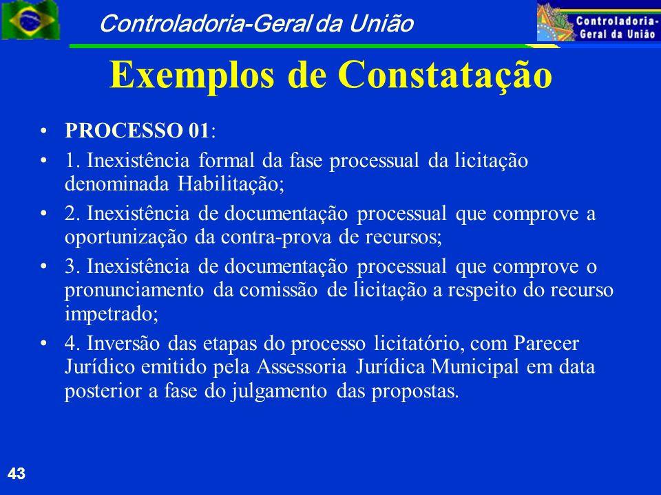 Exemplos de Constatação
