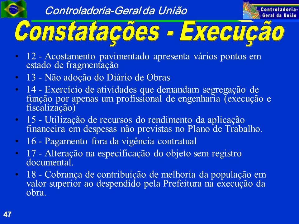 Constatações - Execução