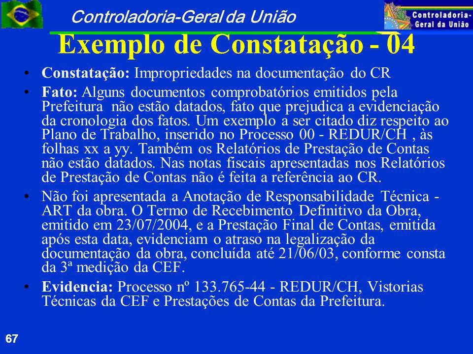 Exemplo de Constatação - 04