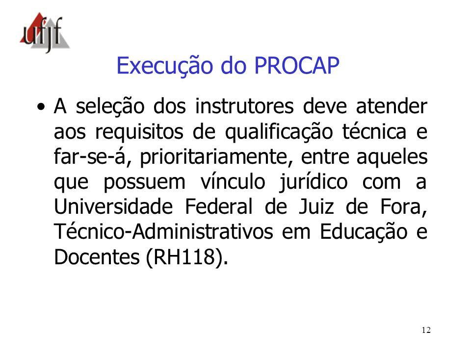 Execução do PROCAP