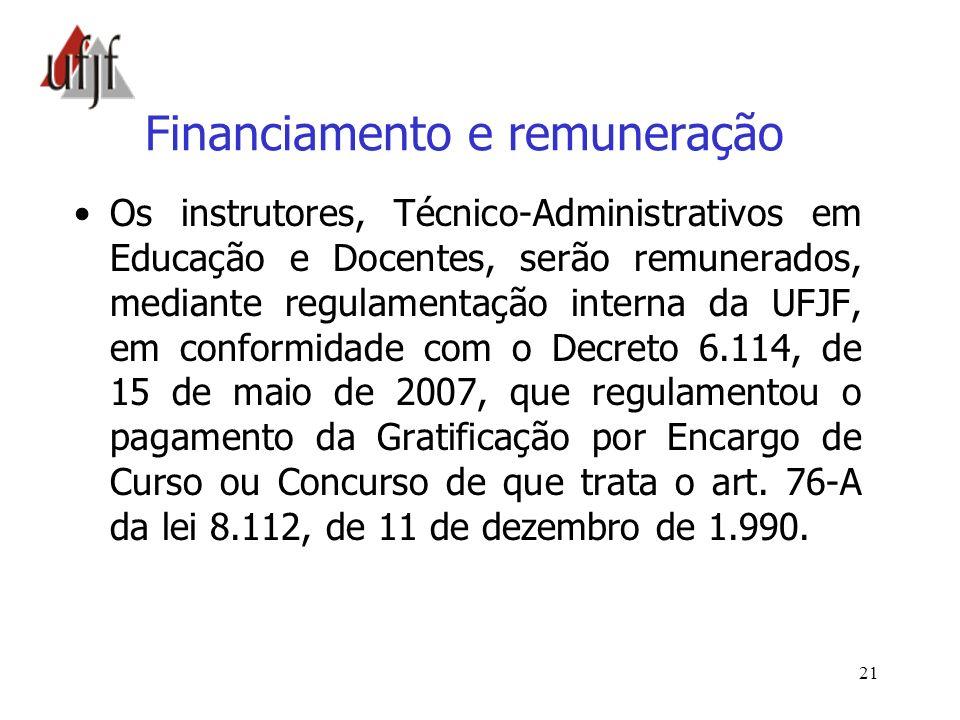 Financiamento e remuneração