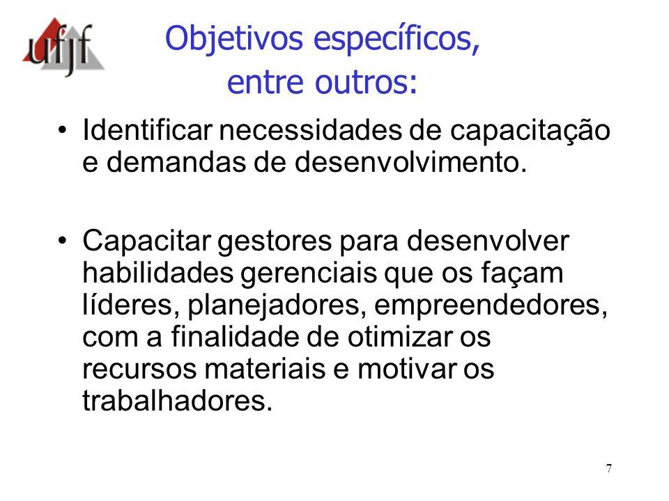 Objetivos específicos, entre outros: