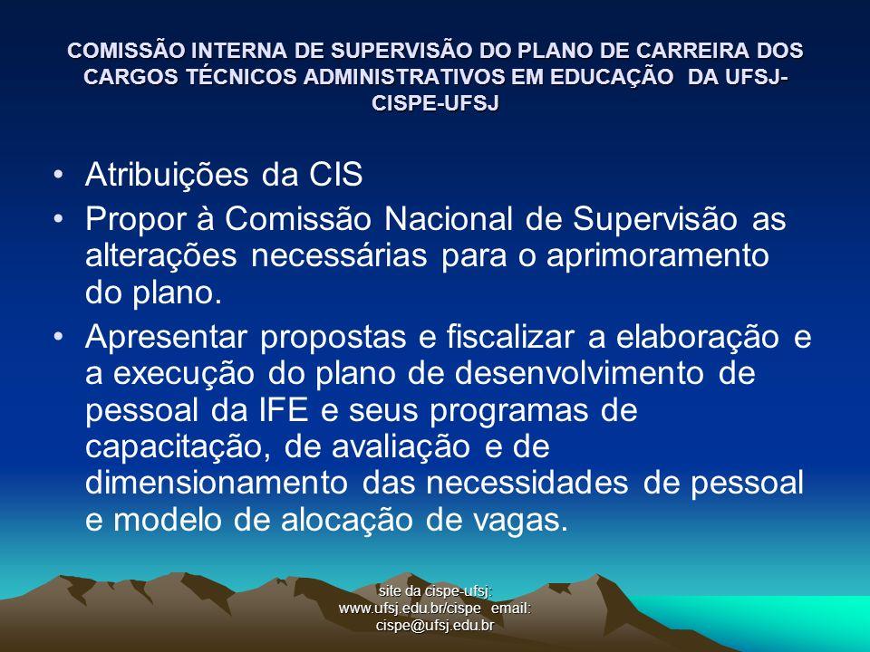 COMISSÃO INTERNA DE SUPERVISÃO DO PLANO DE CARREIRA DOS CARGOS TÉCNICOS ADMINISTRATIVOS EM EDUCAÇÃO DA UFSJ- CISPE-UFSJ