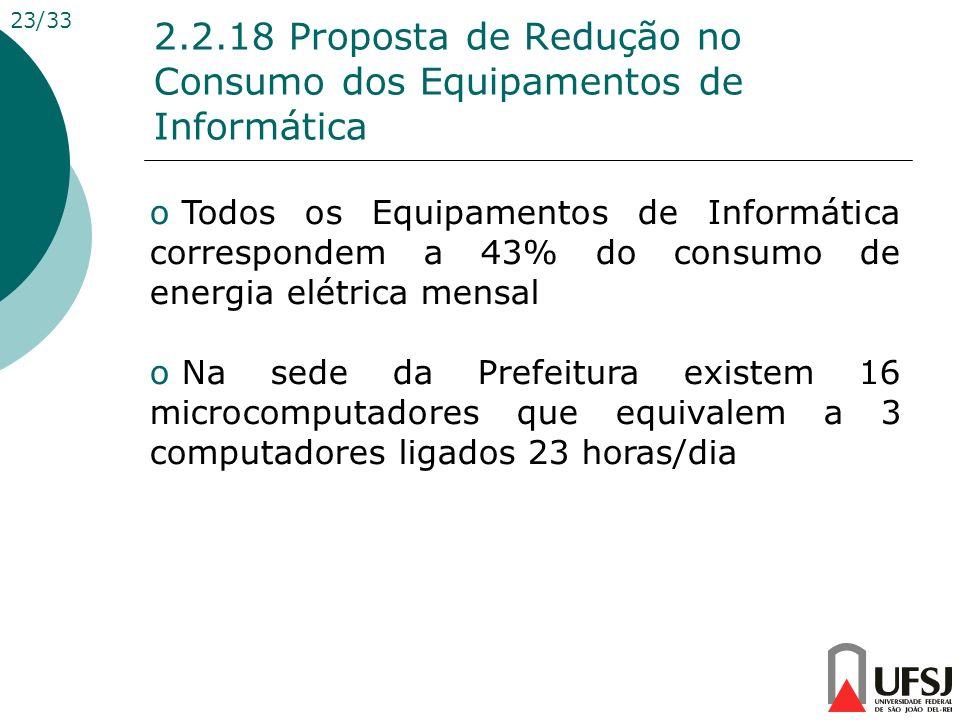 2.2.18 Proposta de Redução no Consumo dos Equipamentos de Informática