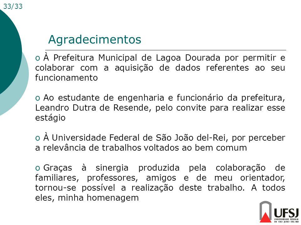 33/33 Agradecimentos. À Prefeitura Municipal de Lagoa Dourada por permitir e colaborar com a aquisição de dados referentes ao seu funcionamento.