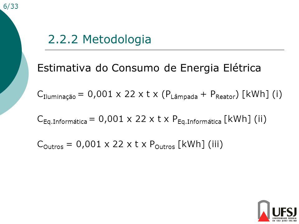 2.2.2 Metodologia Estimativa do Consumo de Energia Elétrica
