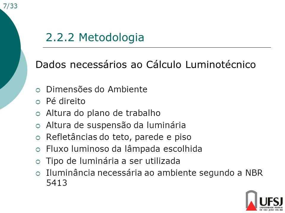 2.2.2 Metodologia Dados necessários ao Cálculo Luminotécnico