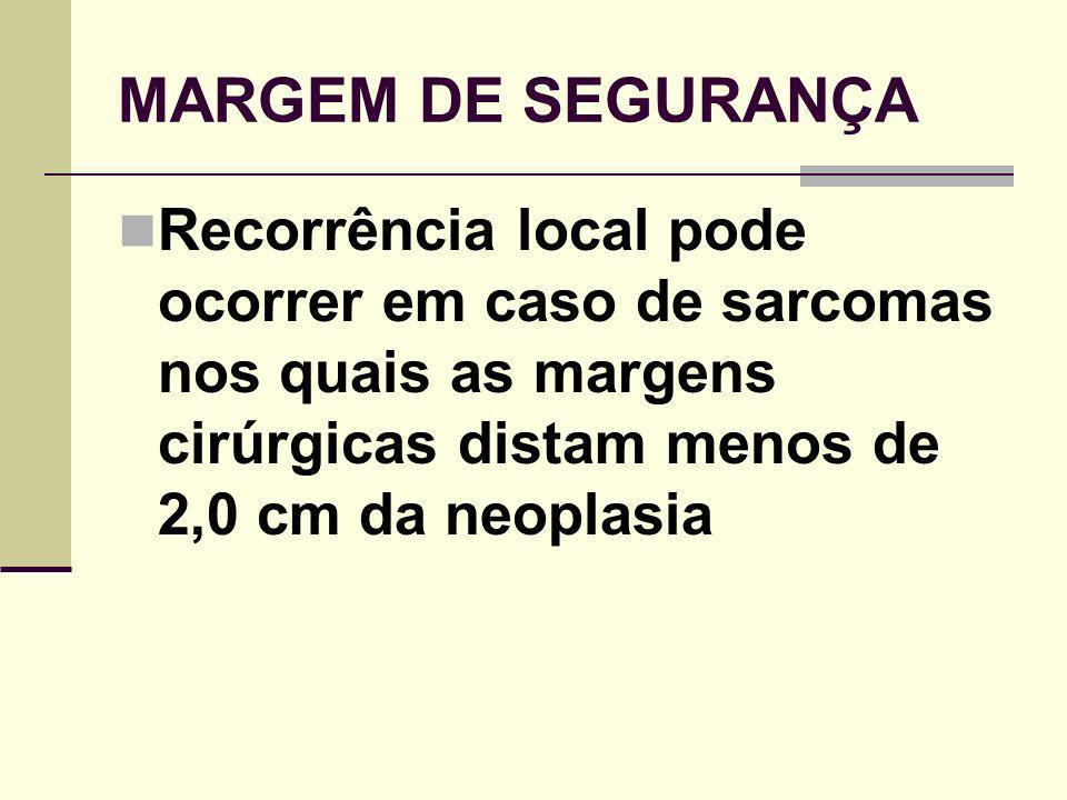 MARGEM DE SEGURANÇA Recorrência local pode ocorrer em caso de sarcomas nos quais as margens cirúrgicas distam menos de 2,0 cm da neoplasia.