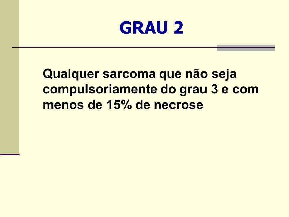 GRAU 2 Qualquer sarcoma que não seja compulsoriamente do grau 3 e com menos de 15% de necrose