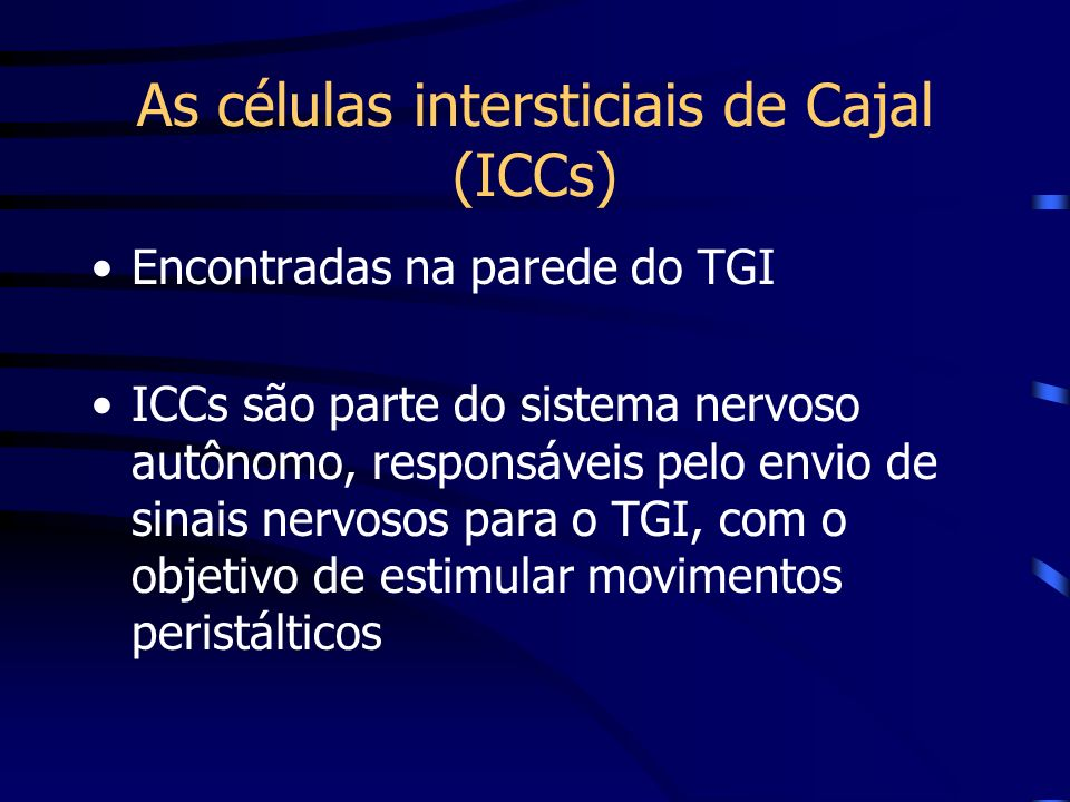 As células intersticiais de Cajal (ICCs)