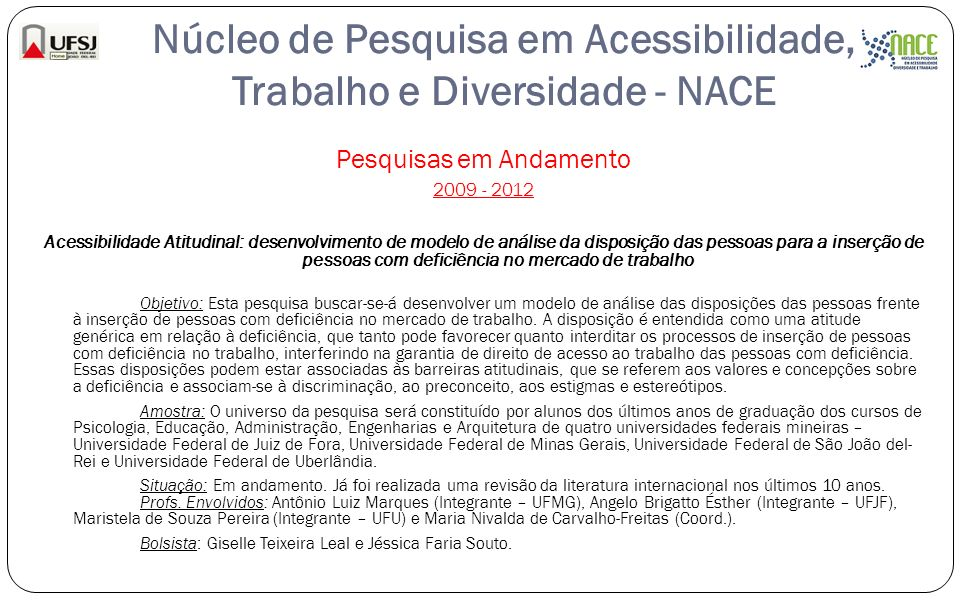 Núcleo de Pesquisa em Acessibilidade, Trabalho e Diversidade - NACE