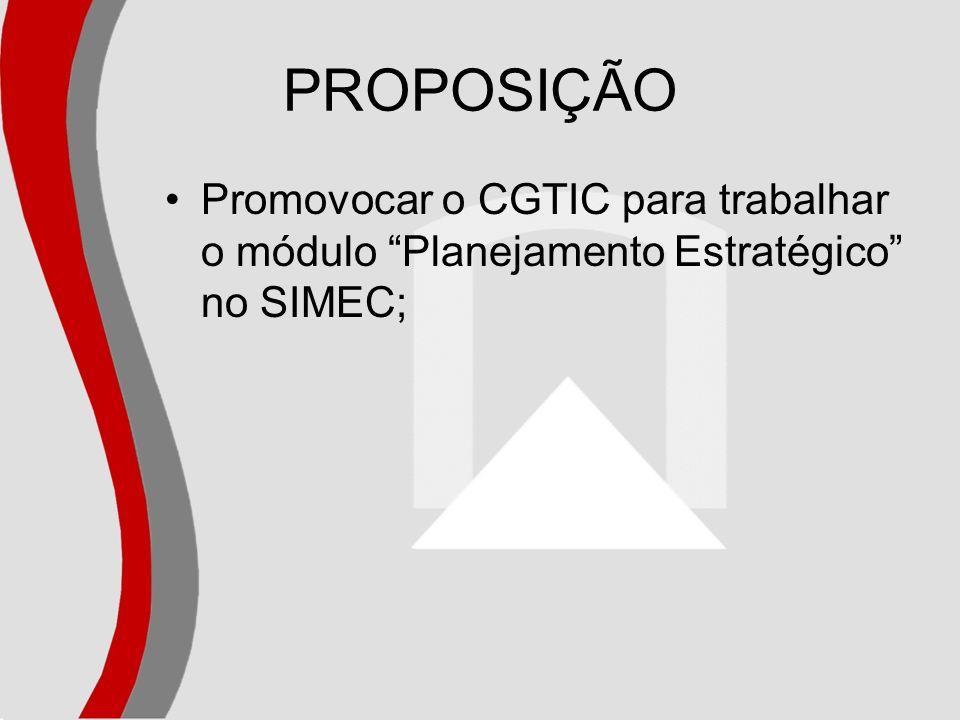 PROPOSIÇÃO Promovocar o CGTIC para trabalhar o módulo Planejamento Estratégico no SIMEC;