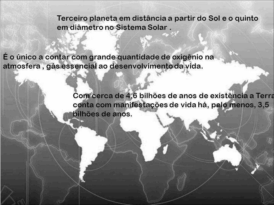 Terceiro planeta em distância a partir do Sol e o quinto em diâmetro no Sistema Solar .