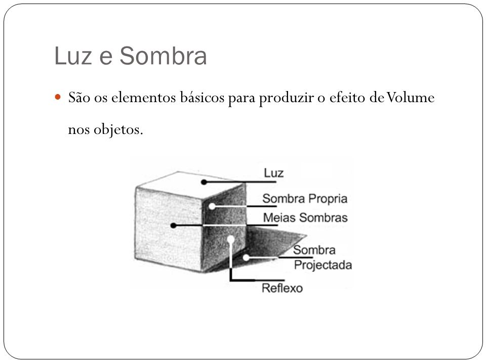 Luz e Sombra São os elementos básicos para produzir o efeito de Volume nos objetos.