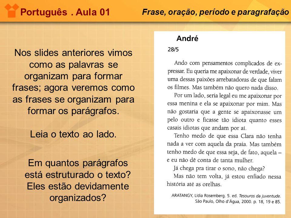 Português . Aula 01 Frase, oração, período e paragrafação.