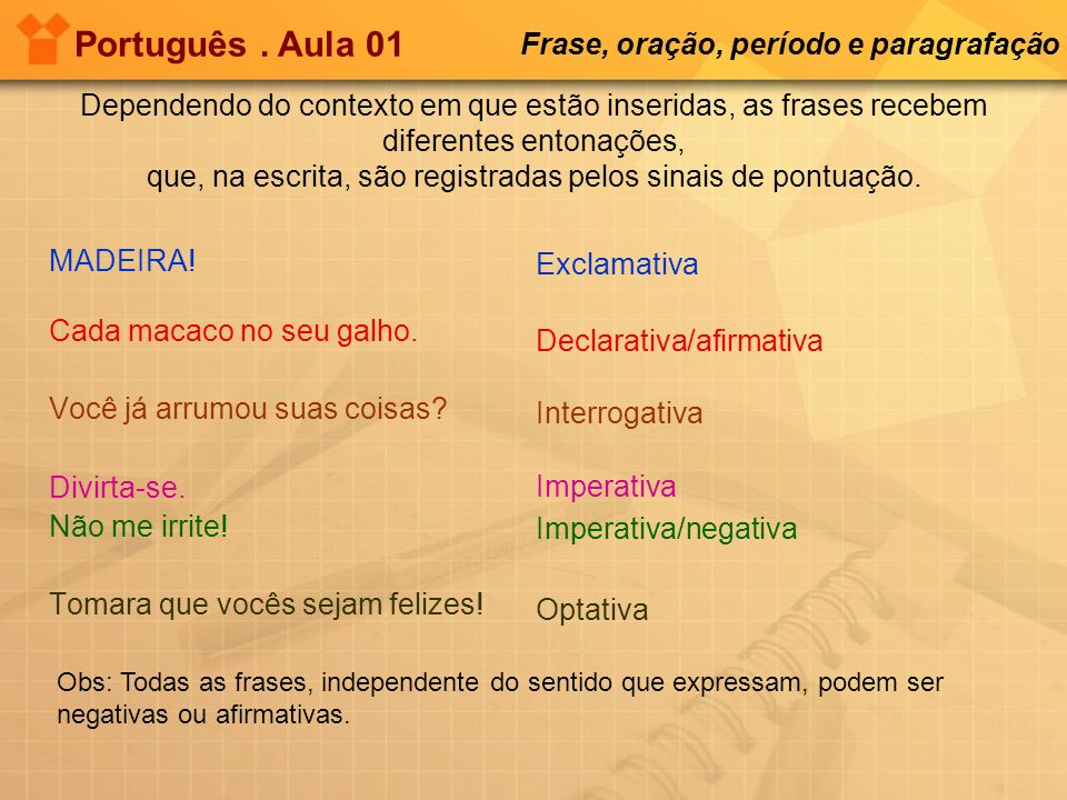 Português . Aula 01 Frase, oração, período e paragrafação