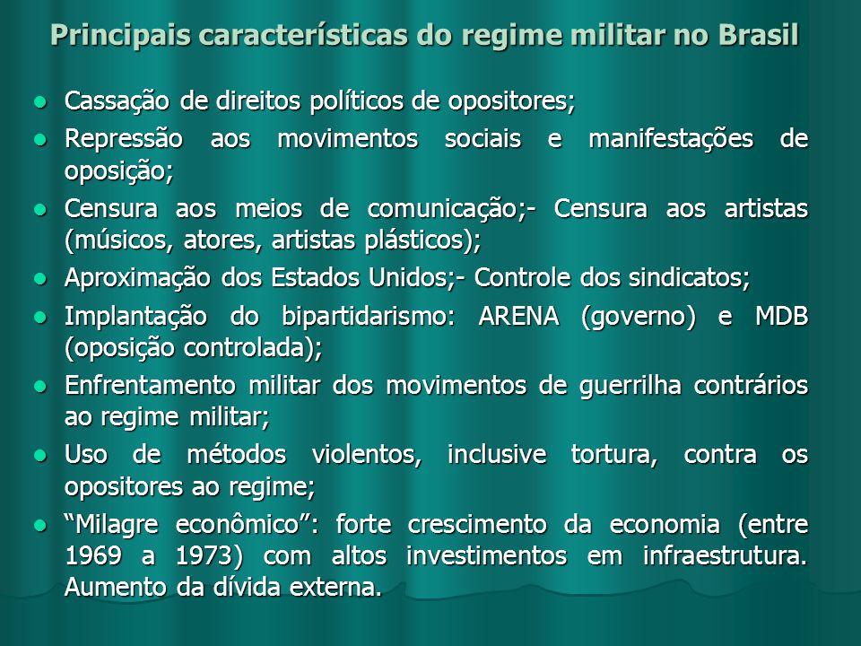 Principais características do regime militar no Brasil