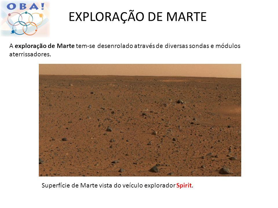 EXPLORAÇÃO DE MARTE A exploração de Marte tem-se desenrolado através de diversas sondas e módulos aterrissadores.