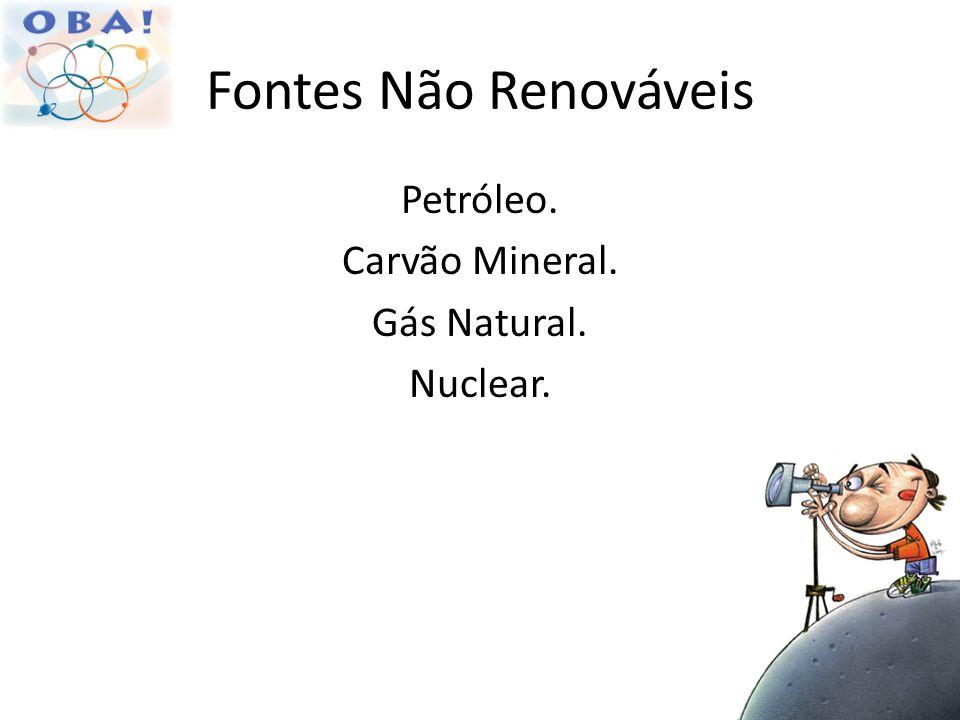 Fontes Não Renováveis Petróleo. Carvão Mineral. Gás Natural. Nuclear.