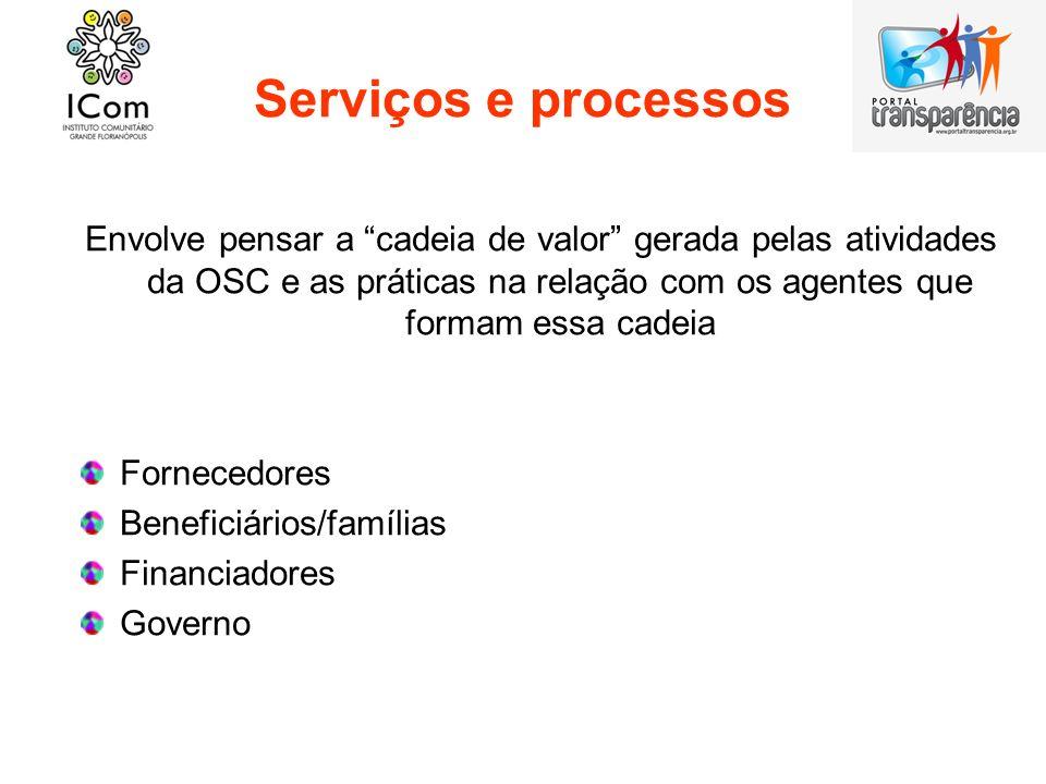 Serviços e processos Envolve pensar a cadeia de valor gerada pelas atividades da OSC e as práticas na relação com os agentes que formam essa cadeia.