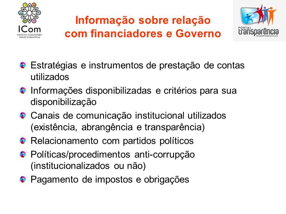 Informação sobre relação com financiadores e Governo