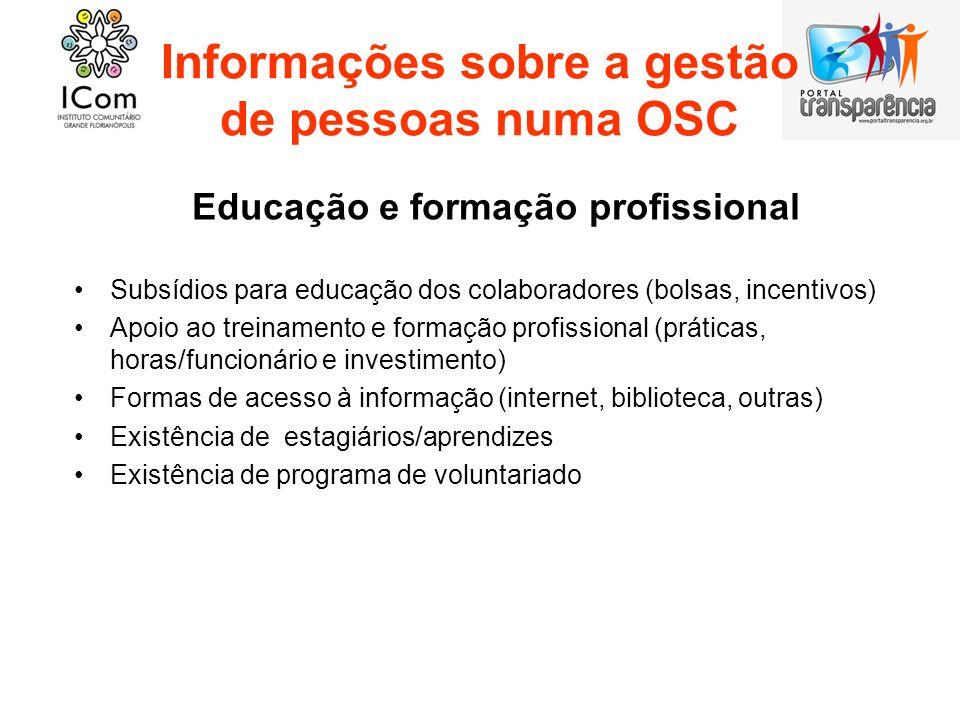 Informações sobre a gestão de pessoas numa OSC