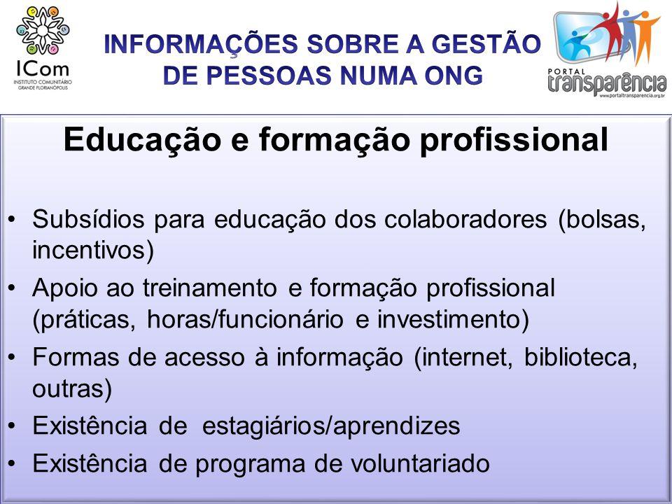 Educação e formação profissional