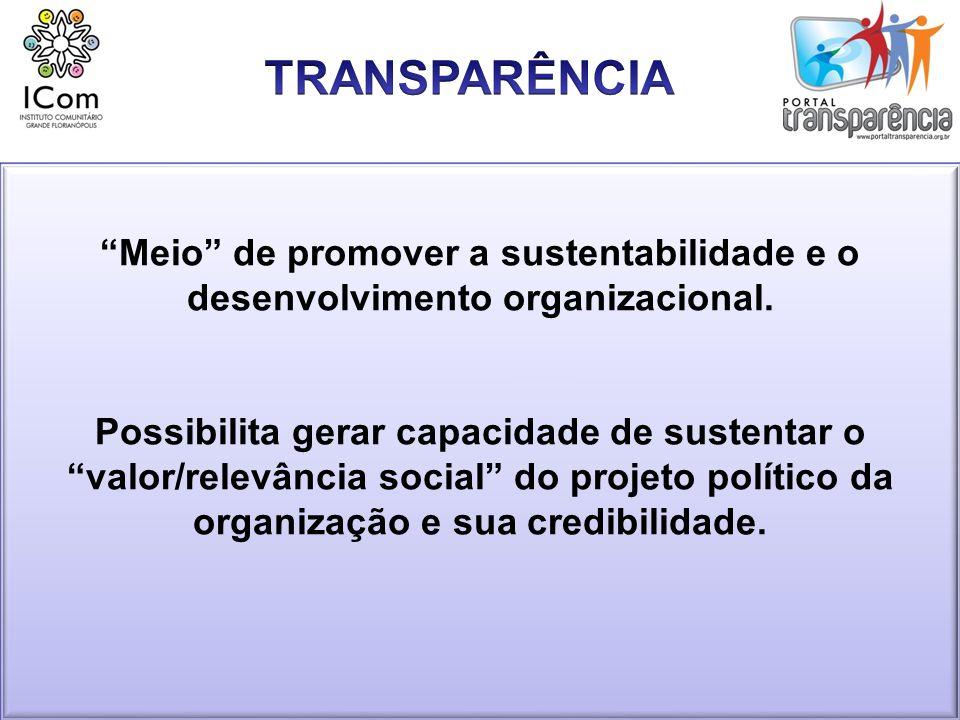 TRANSPARÊNCIA Meio de promover a sustentabilidade e o desenvolvimento organizacional.