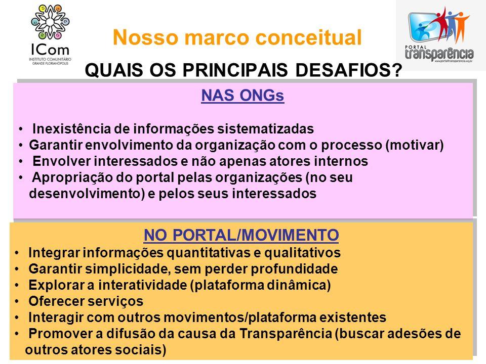 Nosso marco conceitual QUAIS OS PRINCIPAIS DESAFIOS