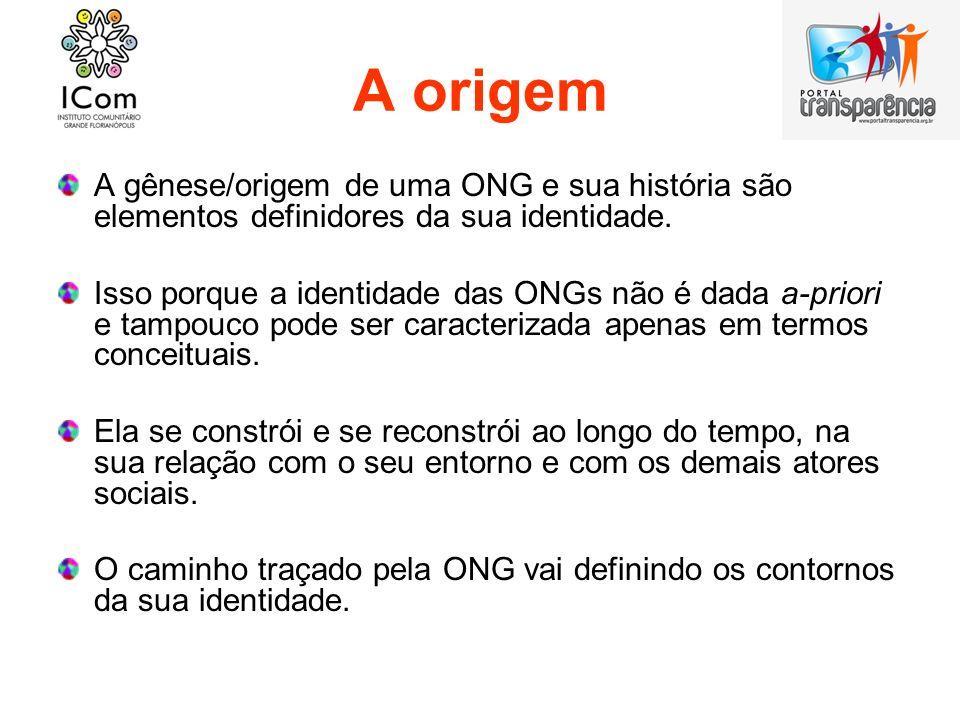 A origem A gênese/origem de uma ONG e sua história são elementos definidores da sua identidade.