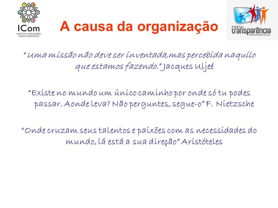 A causa da organização Uma missão não deve ser inventada,mas percebida naquilo que estamos fazendo. Jacques Uljeé.