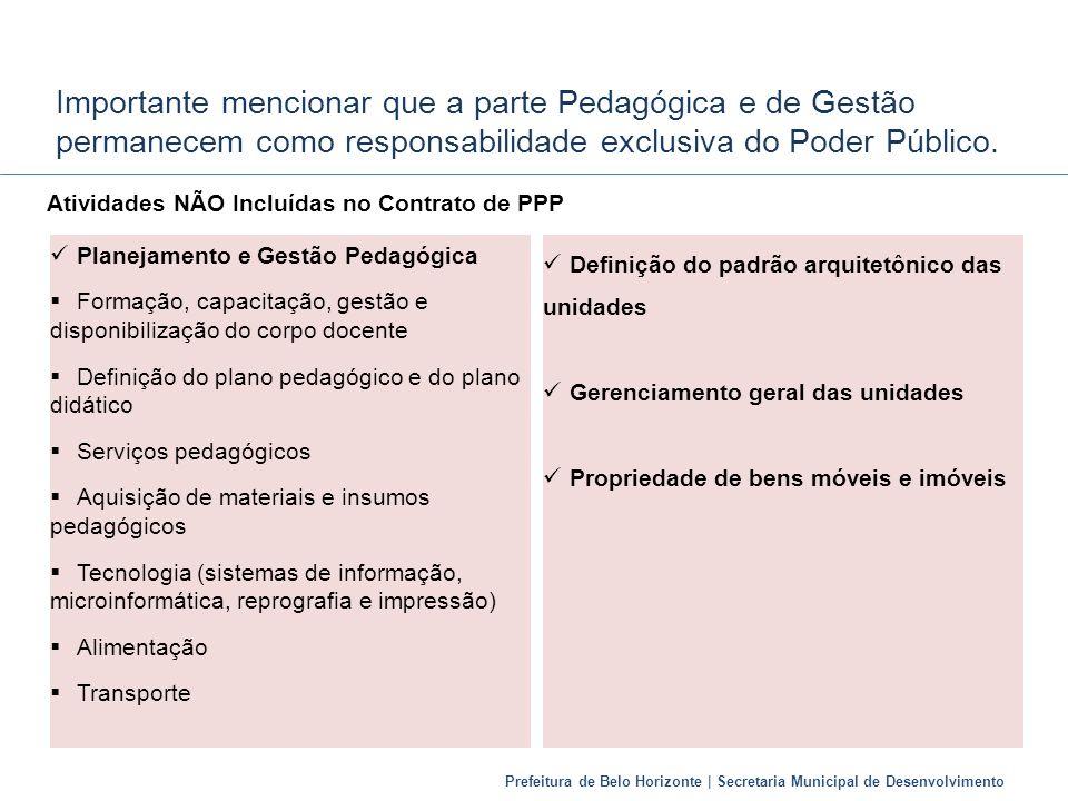 Importante mencionar que a parte Pedagógica e de Gestão permanecem como responsabilidade exclusiva do Poder Público.