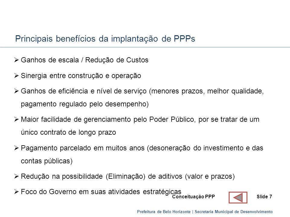 Principais benefícios da implantação de PPPs