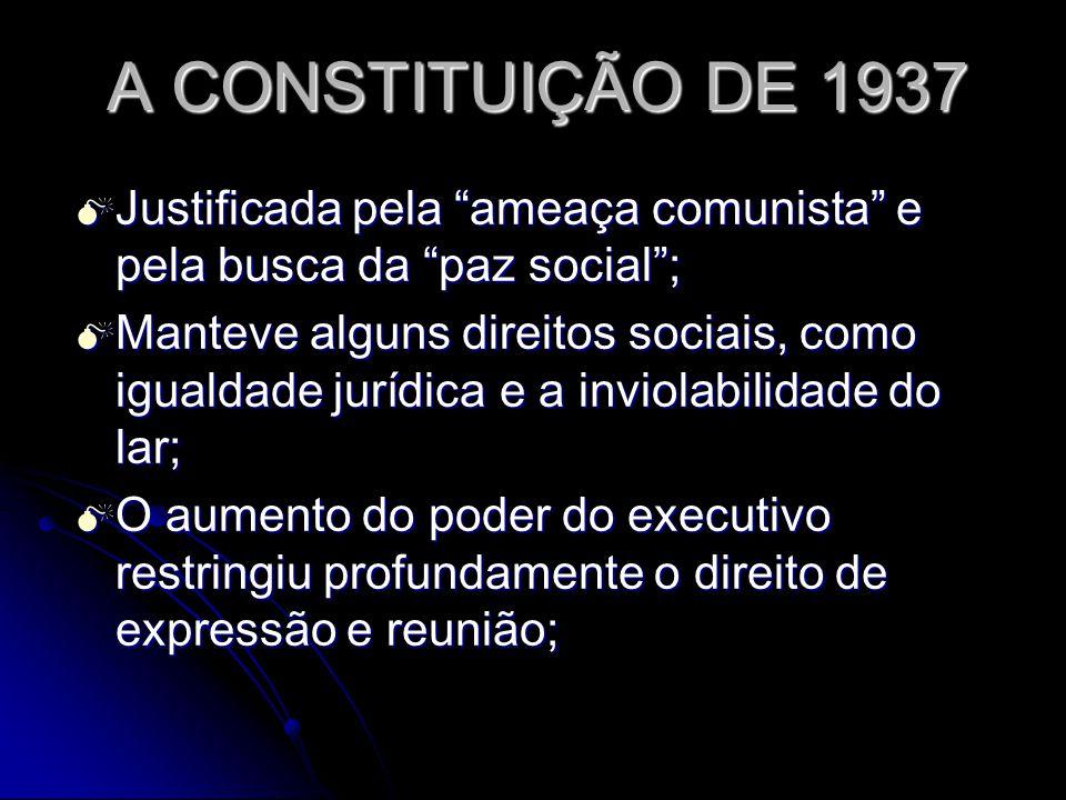 A CONSTITUIÇÃO DE 1937 Justificada pela ameaça comunista e pela busca da paz social ;