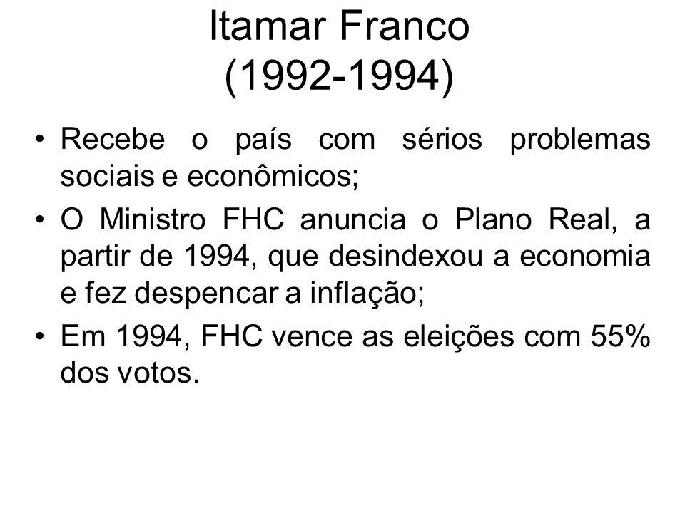 Itamar Franco (1992-1994) Recebe o país com sérios problemas sociais e econômicos;