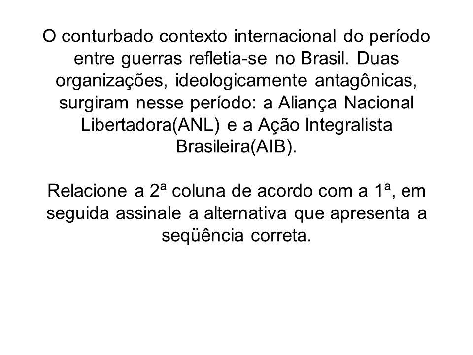 O conturbado contexto internacional do período entre guerras refletia-se no Brasil.