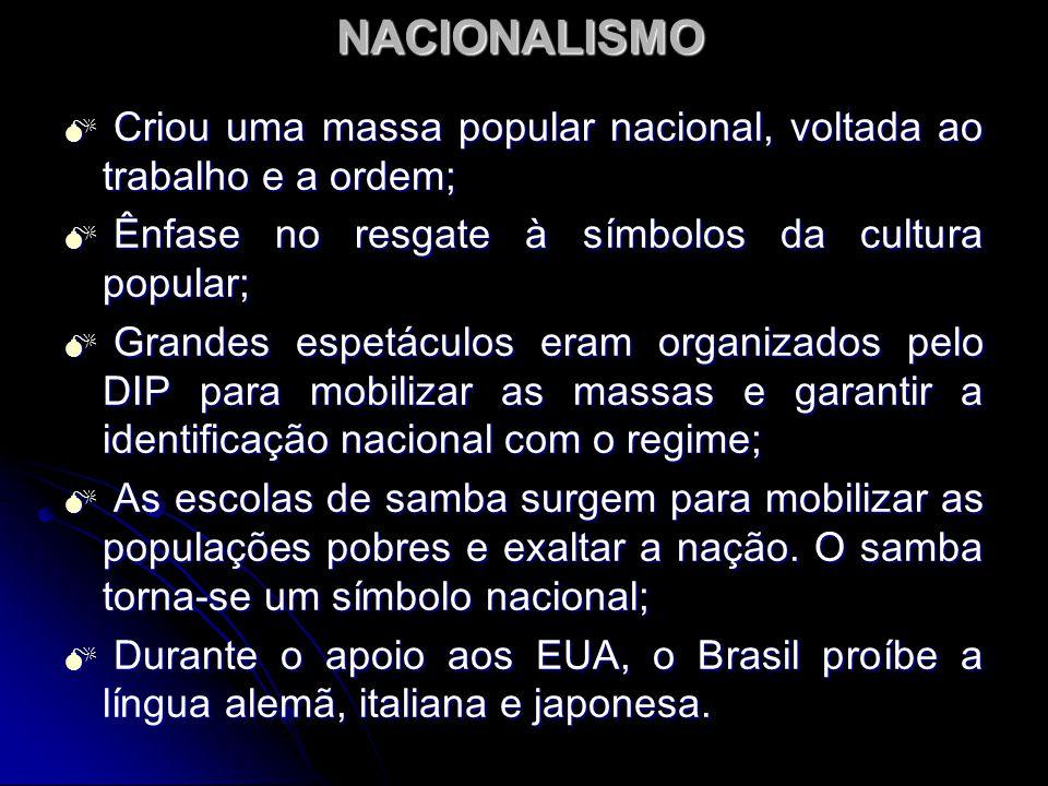 NACIONALISMO Criou uma massa popular nacional, voltada ao trabalho e a ordem; Ênfase no resgate à símbolos da cultura popular;