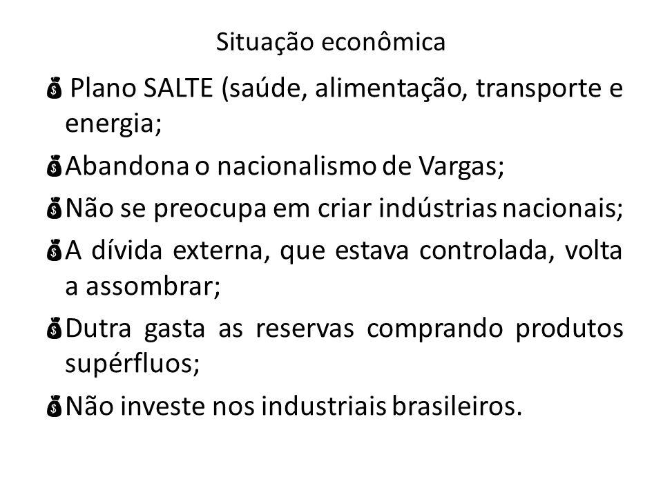 Plano SALTE (saúde, alimentação, transporte e energia;