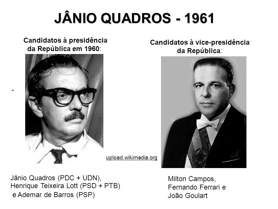 JÂNIO QUADROS - 1961 Candidatos à presidência da República em 1960:
