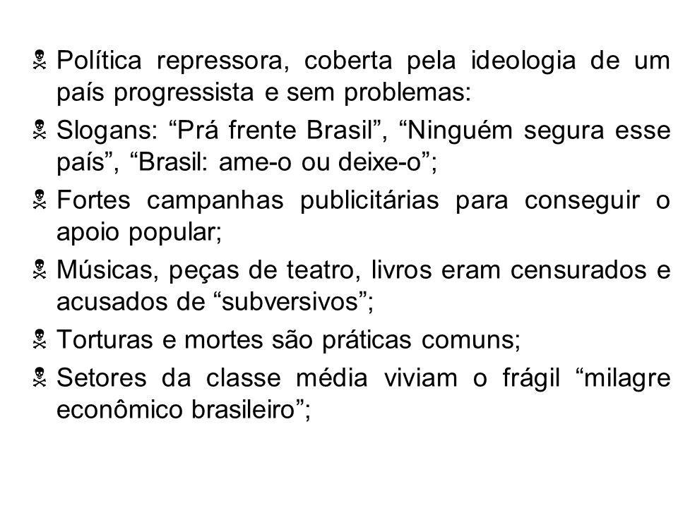 Política repressora, coberta pela ideologia de um país progressista e sem problemas: