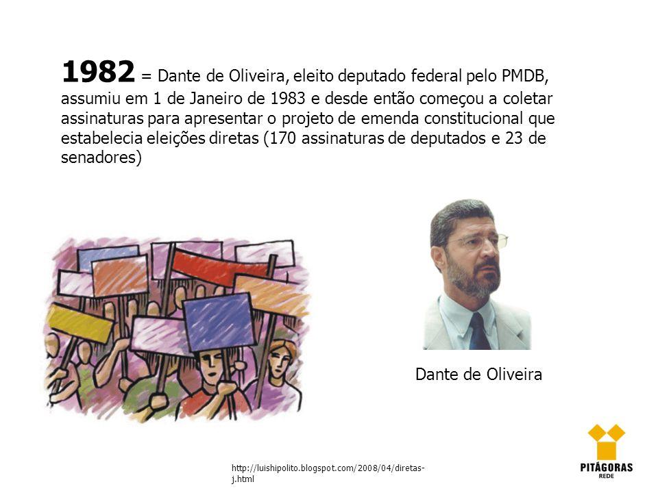 1982 = Dante de Oliveira, eleito deputado federal pelo PMDB, assumiu em 1 de Janeiro de 1983 e desde então começou a coletar assinaturas para apresentar o projeto de emenda constitucional que estabelecia eleições diretas (170 assinaturas de deputados e 23 de senadores)