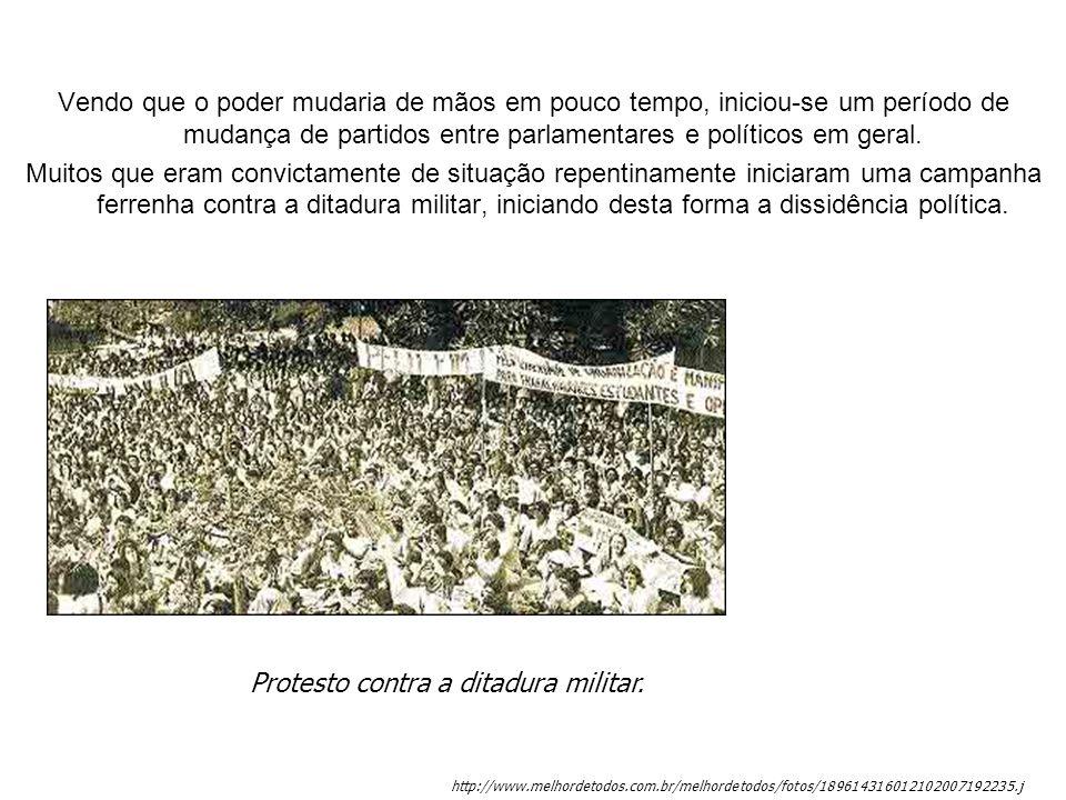 Protesto contra a ditadura militar.